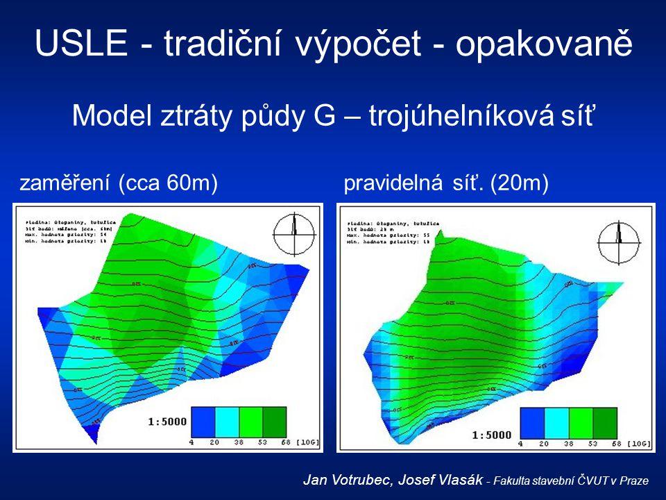 Model ztráty půdy G – trojúhelníková síť zaměření (cca 60m) pravidelná síť. (20m) USLE - tradiční výpočet - opakovaně Jan Votrubec, Josef Vlasák - Fak