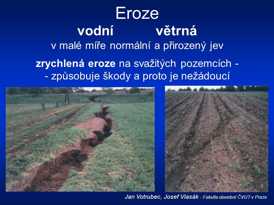 Eroze vodnívětrná v malé míře normální a přirozený jev zrychlená eroze na svažitých pozemcích - - způsobuje škody a proto je nežádoucí Jan Votrubec, J