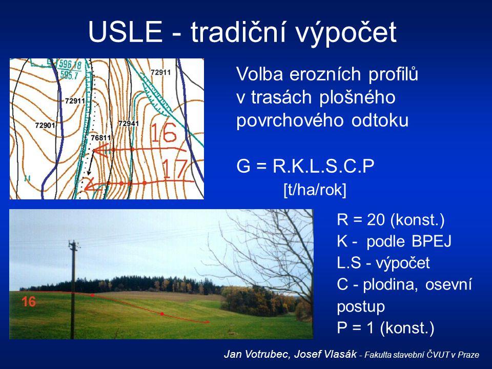 Volba erozních profilů v trasách plošného povrchového odtoku G = R.K.L.S.C.P [t/ha/rok] R = 20 (konst.) K - podle BPEJ L.S - výpočet C - plodina, osev