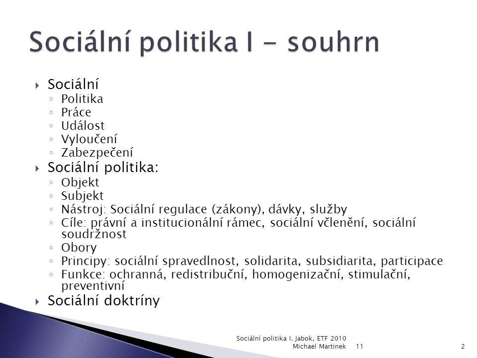  Antika  Izrael  Křesťanský středověk  Chudinské zákony  Moderní sociální politika 11 Sociální politika I.