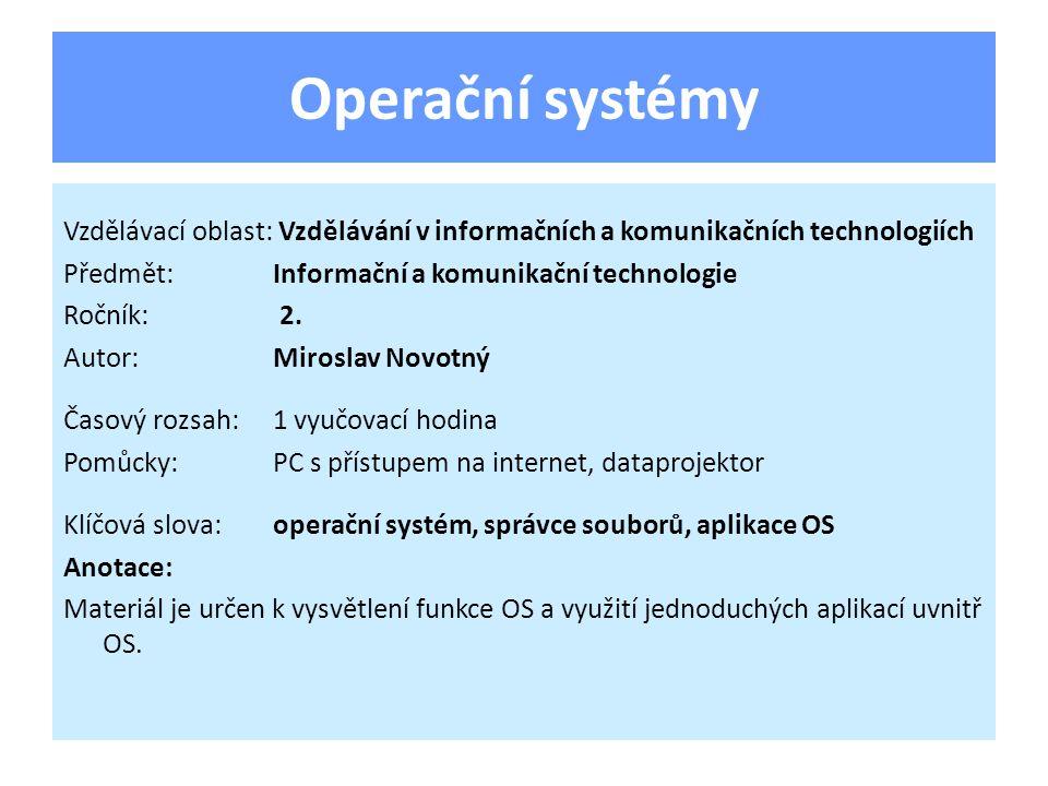Základní programové vybavení, tvořen mnoha stovkami jednotlivých programů Má 2 základní funkce: – Správně ovládat HW PC – Umožnit spuštění uživatelského SW OS může být z hlediska ovládání: – s grafickým uživatelským rozhraním – s režimem příkazového řádku OS - definice