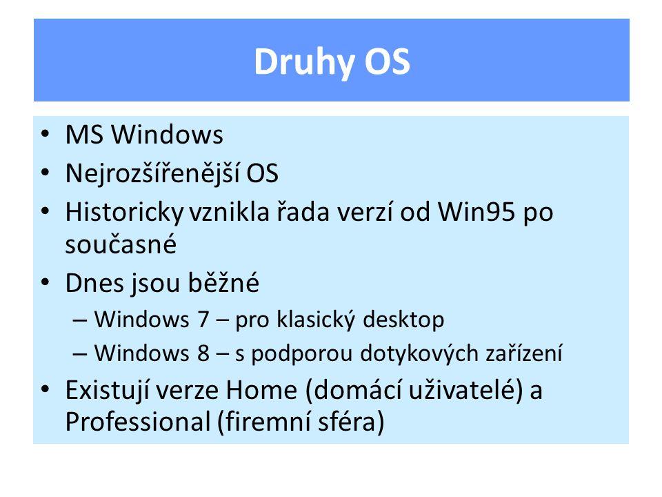 MS Windows Nejrozšířenější OS Historicky vznikla řada verzí od Win95 po současné Dnes jsou běžné – Windows 7 – pro klasický desktop – Windows 8 – s podporou dotykových zařízení Existují verze Home (domácí uživatelé) a Professional (firemní sféra) Druhy OS