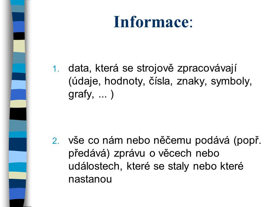 Informace: 1. data, která se strojově zpracovávají (údaje, hodnoty, čísla, znaky, symboly, grafy,... ) 2. vše co nám nebo něčemu podává (popř. předává