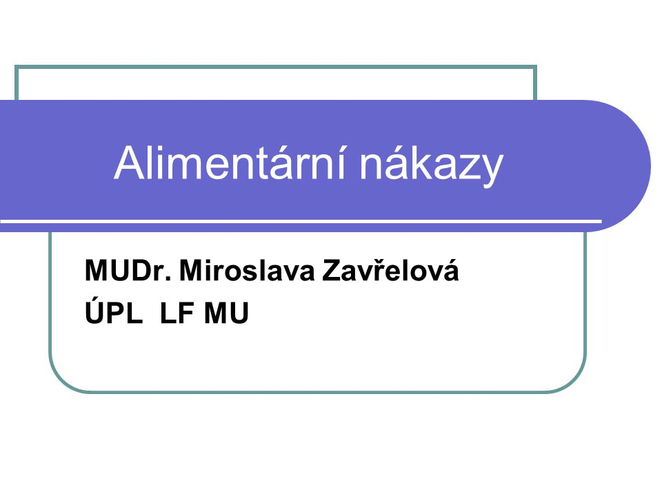 Alimentární nákazy MUDr. Miroslava Zavřelová ÚPL LF MU