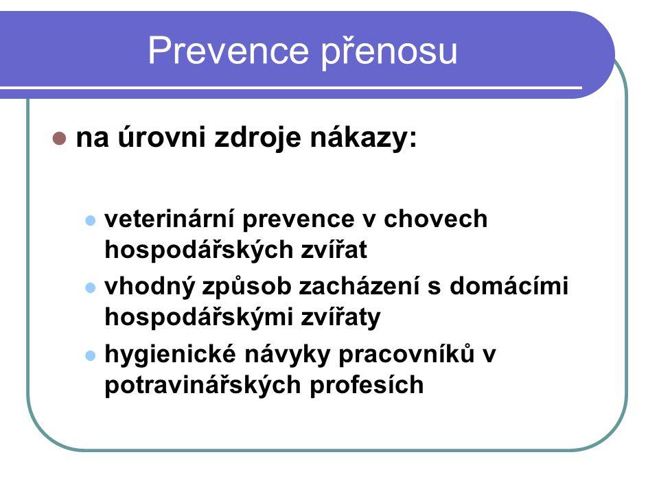 Prevence přenosu na úrovni zdroje nákazy: veterinární prevence v chovech hospodářských zvířat vhodný způsob zacházení s domácími hospodářskými zvířaty hygienické návyky pracovníků v potravinářských profesích