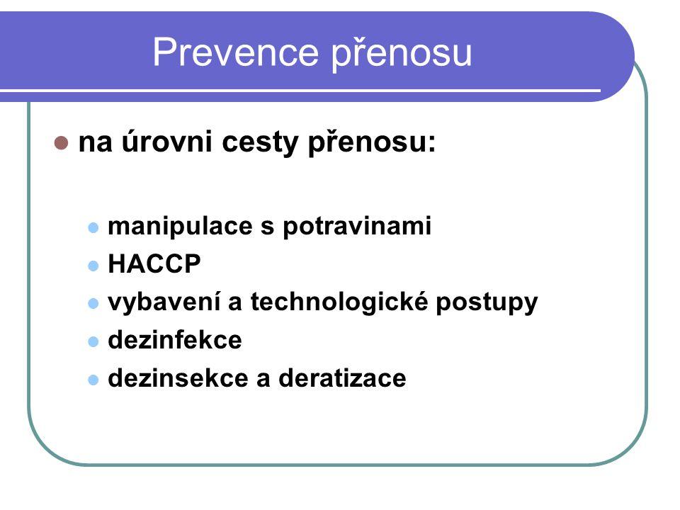 Prevence přenosu na úrovni cesty přenosu: manipulace s potravinami HACCP vybavení a technologické postupy dezinfekce dezinsekce a deratizace