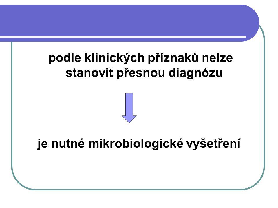 podle klinických příznaků nelze stanovit přesnou diagnózu je nutné mikrobiologické vyšetření