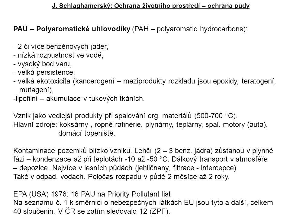 J. Schlaghamerský: Ochrana životního prostředí – ochrana půdy PAU – Polyaromatické uhlovodíky (PAH – polyaromatic hydrocarbons): - 2 či více benzénový