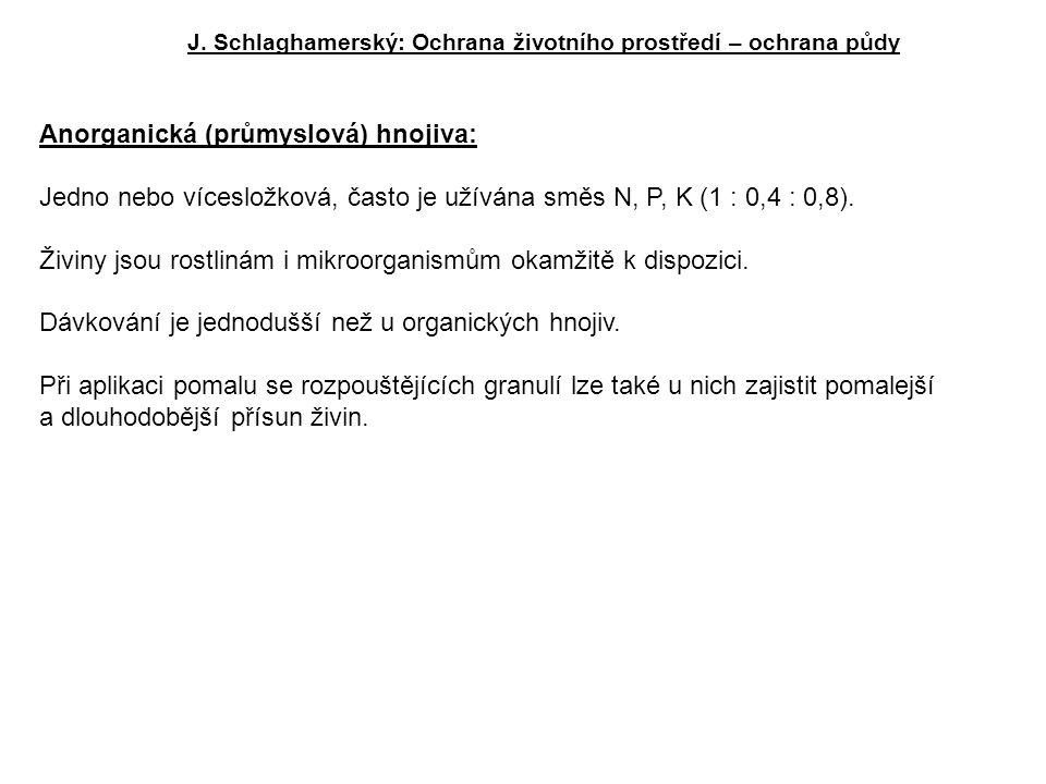 J. Schlaghamerský: Ochrana životního prostředí – ochrana půdy Anorganická (průmyslová) hnojiva: Jedno nebo vícesložková, často je užívána směs N, P, K