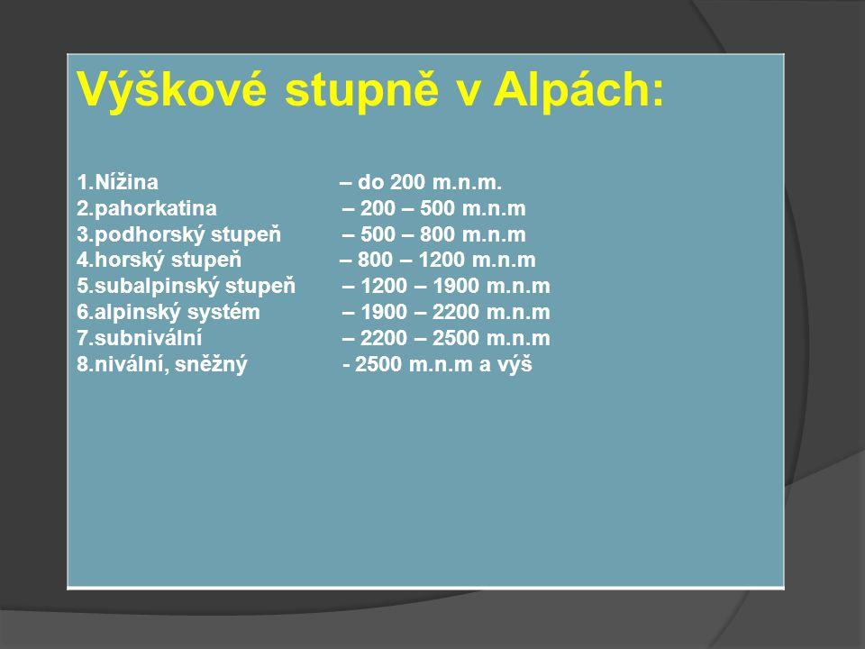 Výškové stupně v Alpách: 1.Nížina – do 200 m.n.m. 2.pahorkatina – 200 – 500 m.n.m 3.podhorský stupeň – 500 – 800 m.n.m 4.horský stupeň – 800 – 1200 m.