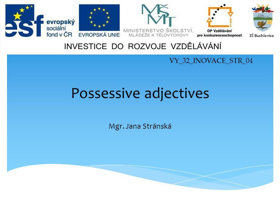 VY_32_INOVACE_STR_04 Possessive adjectives Mgr. Jana Stránská