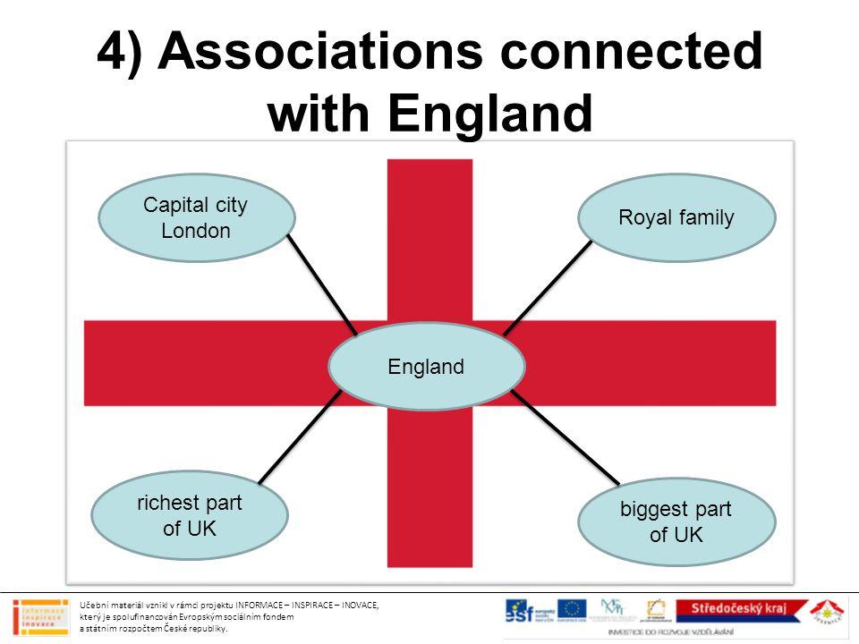4) Associations connected with England Učební materiál vznikl v rámci projektu INFORMACE – INSPIRACE – INOVACE, který je spolufinancován Evropským sociálním fondem a státním rozpočtem České republiky.