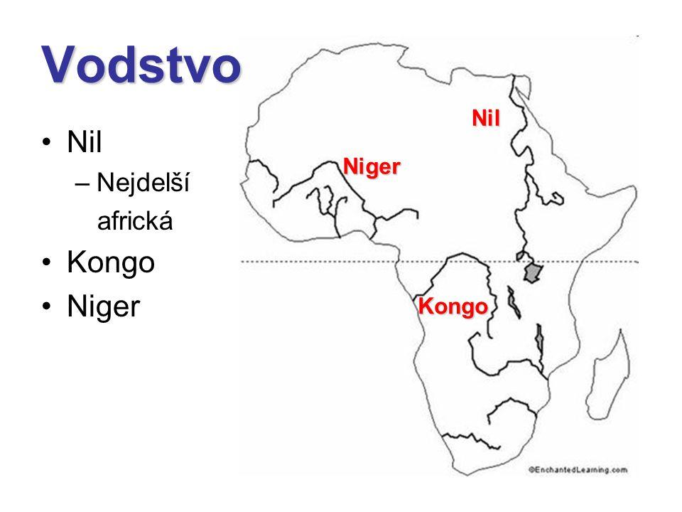 Nil –Nejdelší africká Kongo Niger Nil Kongo Niger Vodstvo