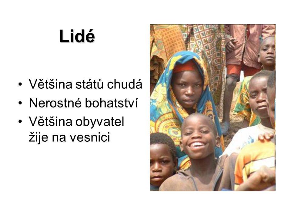 Lidé Většina států chudá Nerostné bohatství Většina obyvatel žije na vesnici