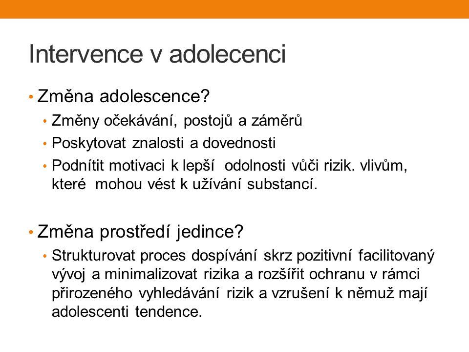 Intervence v adolecenci Změna adolescence.