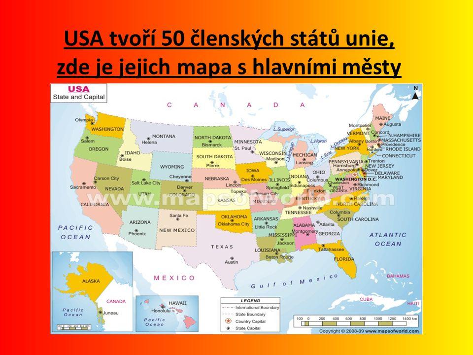 USA tvoří 50 členských států unie, zde je jejich mapa s hlavními městy