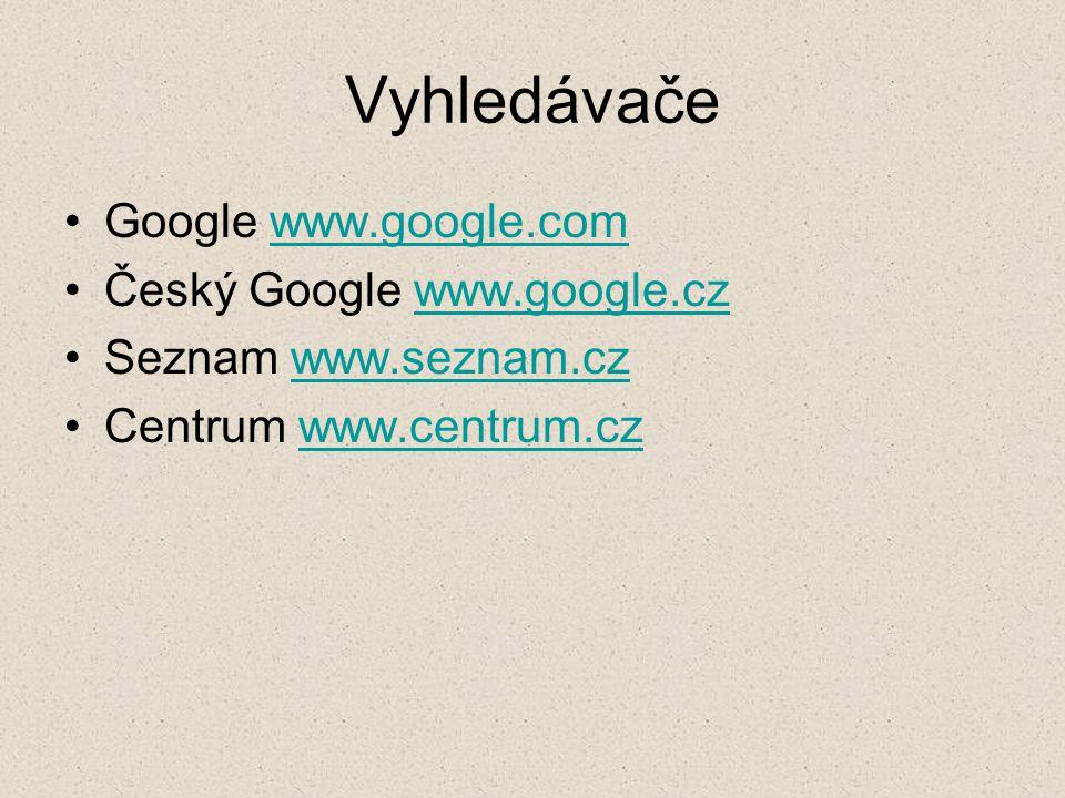 Vyhledávače Google www.google.comwww.google.com Český Google www.google.czwww.google.cz Seznam www.seznam.czwww.seznam.cz Centrum www.centrum.czwww.ce