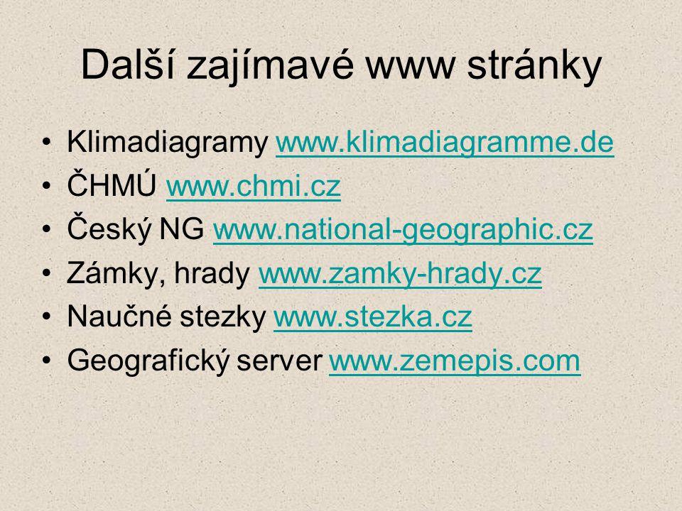 Další zajímavé www stránky Klimadiagramy www.klimadiagramme.dewww.klimadiagramme.de ČHMÚ www.chmi.czwww.chmi.cz Český NG www.national-geographic.czwww