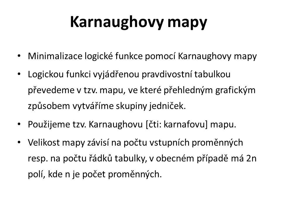 Karnaughovy mapy Minimalizace logické funkce pomocí Karnaughovy mapy Logickou funkci vyjádřenou pravdivostní tabulkou převedeme v tzv.