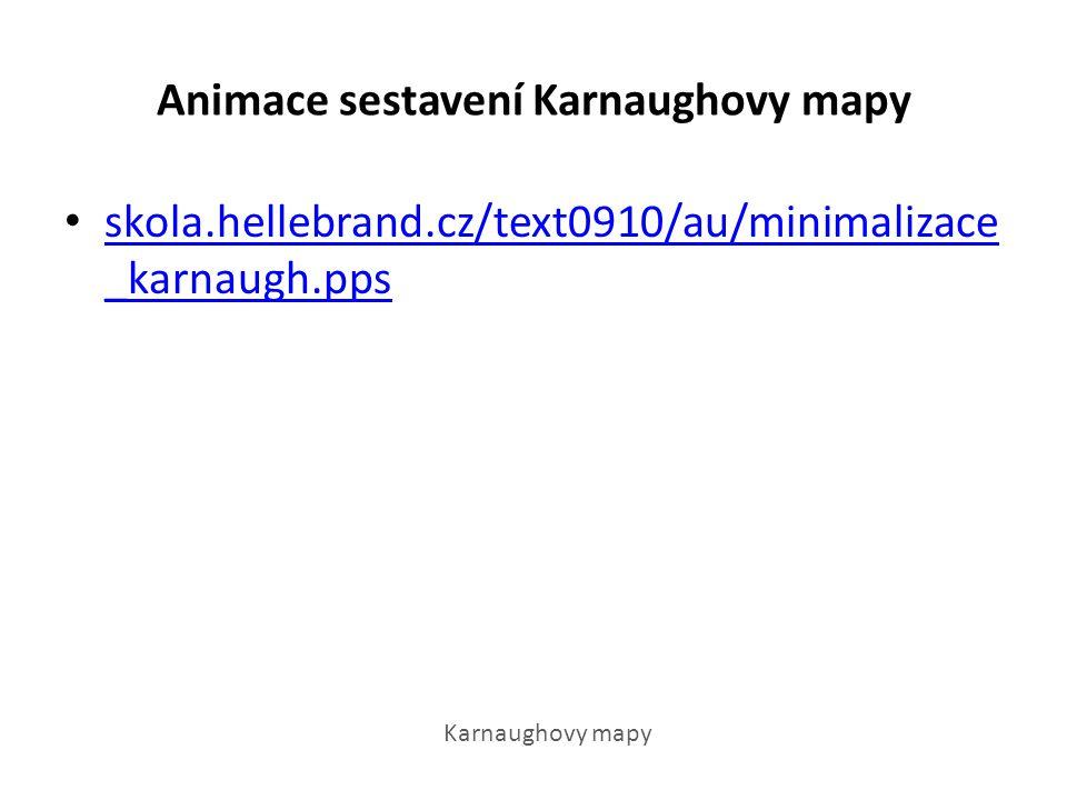 Animace sestavení Karnaughovy mapy skola.hellebrand.cz/text0910/au/minimalizace _karnaugh.pps skola.hellebrand.cz/text0910/au/minimalizace _karnaugh.pps Karnaughovy mapy