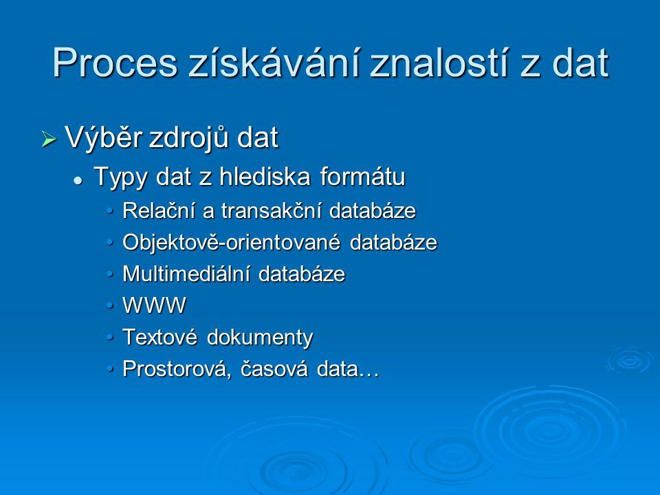Proces získávání znalostí z dat  Výběr zdrojů dat Typy dat z hlediska formátu Typy dat z hlediska formátu Relační a transakční databázeRelační a transakční databáze Objektově-orientované databázeObjektově-orientované databáze Multimediální databázeMultimediální databáze WWWWWW Textové dokumentyTextové dokumenty Prostorová, časová data…Prostorová, časová data…
