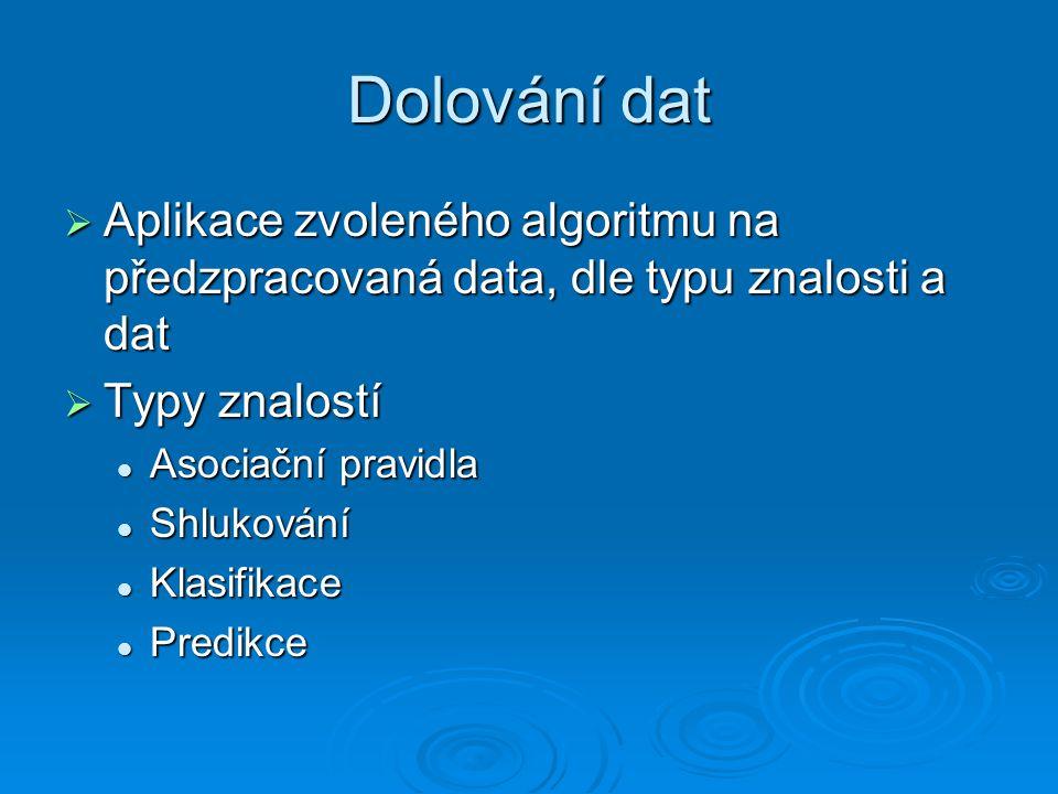 Dolování dat  Aplikace zvoleného algoritmu na předzpracovaná data, dle typu znalosti a dat  Typy znalostí Asociační pravidla Asociační pravidla Shlukování Shlukování Klasifikace Klasifikace Predikce Predikce