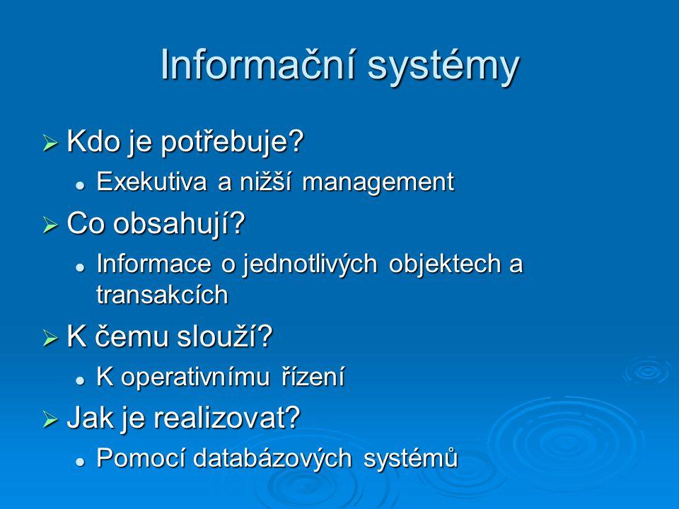 Informační systémy  Kdo je potřebuje.
