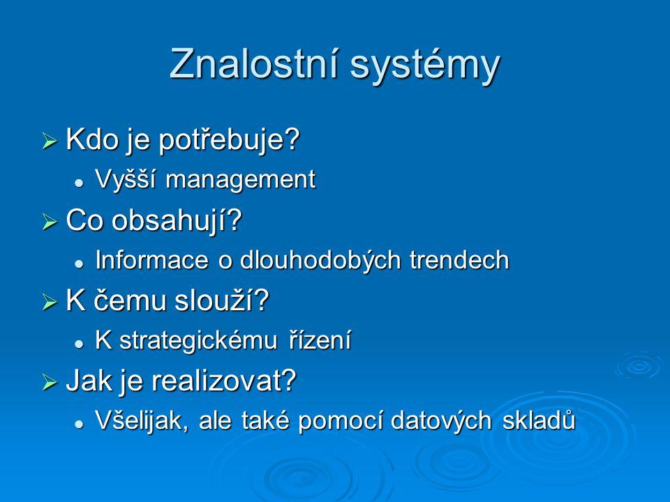 Znalostní systémy  Kdo je potřebuje.Vyšší management Vyšší management  Co obsahují.