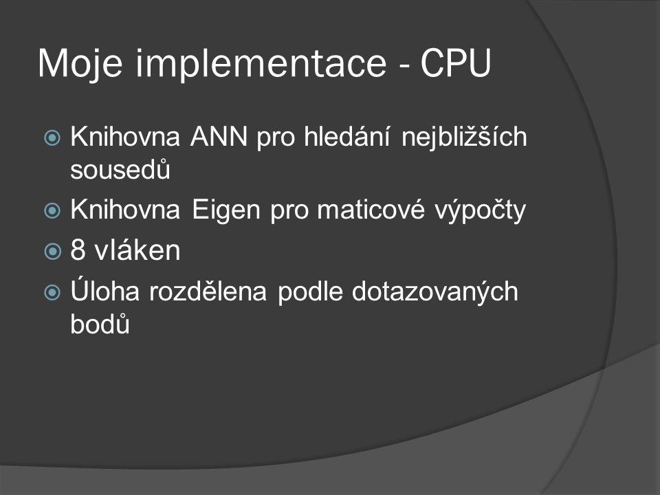 Moje implementace - CPU  Knihovna ANN pro hledání nejbližších sousedů  Knihovna Eigen pro maticové výpočty  8 vláken  Úloha rozdělena podle dotazo