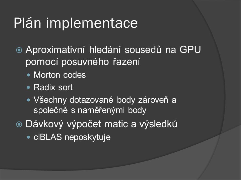 Plán implementace  Aproximativní hledání sousedů na GPU pomocí posuvného řazení Morton codes Radix sort Všechny dotazované body zároveň a společně s