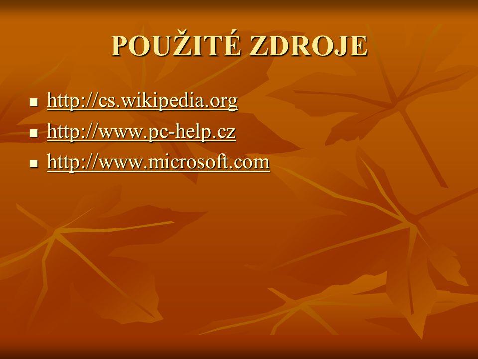 POUŽITÉ ZDROJE http://cs.wikipedia.org http://cs.wikipedia.org http://cs.wikipedia.org http://www.pc-help.cz http://www.pc-help.cz http://www.pc-help.cz http://www.microsoft.com http://www.microsoft.com http://www.microsoft.com