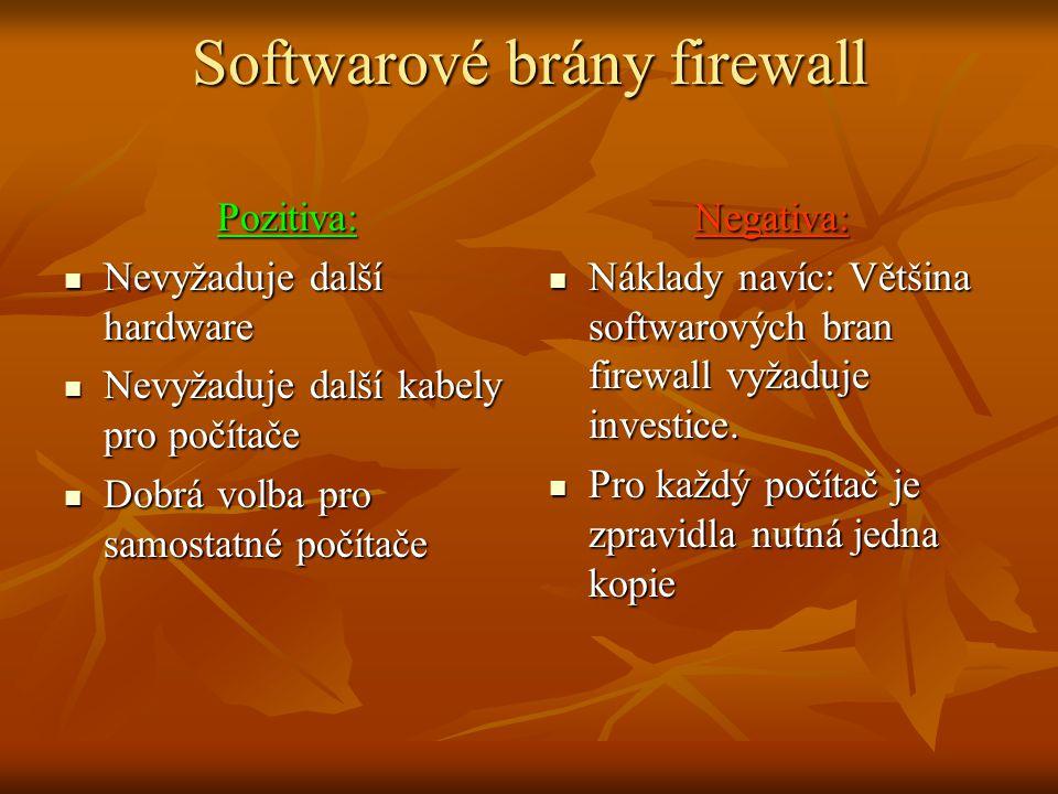 Softwarové brány firewall Pozitiva: Nevyžaduje další hardware Nevyžaduje další hardware Nevyžaduje další kabely pro počítače Nevyžaduje další kabely pro počítače Dobrá volba pro samostatné počítače Dobrá volba pro samostatné počítačeNegativa: Náklady navíc: Většina softwarových bran firewall vyžaduje investice.