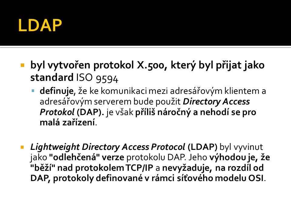  byl vytvořen protokol X.500, který byl přijat jako standard ISO 9594  definuje, že ke komunikaci mezi adresářovým klientem a adresářovým serverem b