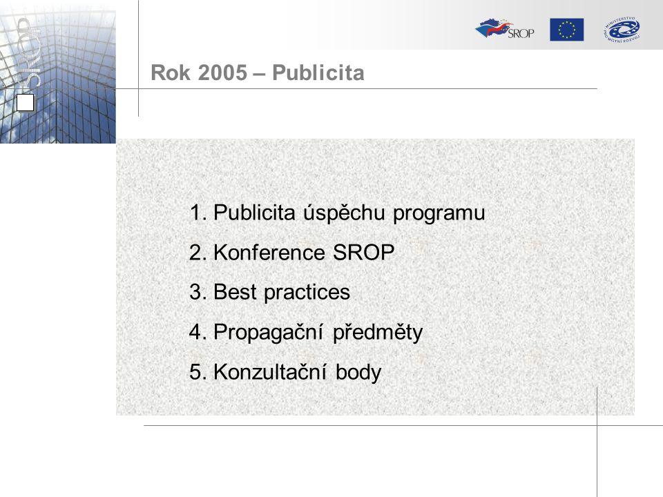 1. Publicita úspěchu programu 2. Konference SROP 3.