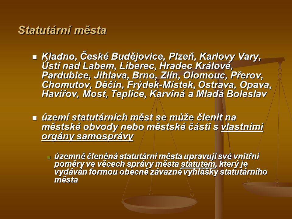 Statutární města Kladno, České Budějovice, Plzeň, Karlovy Vary, Ústí nad Labem, Liberec, Hradec Králové, Pardubice, Jihlava, Brno, Zlín, Olomouc, Přer