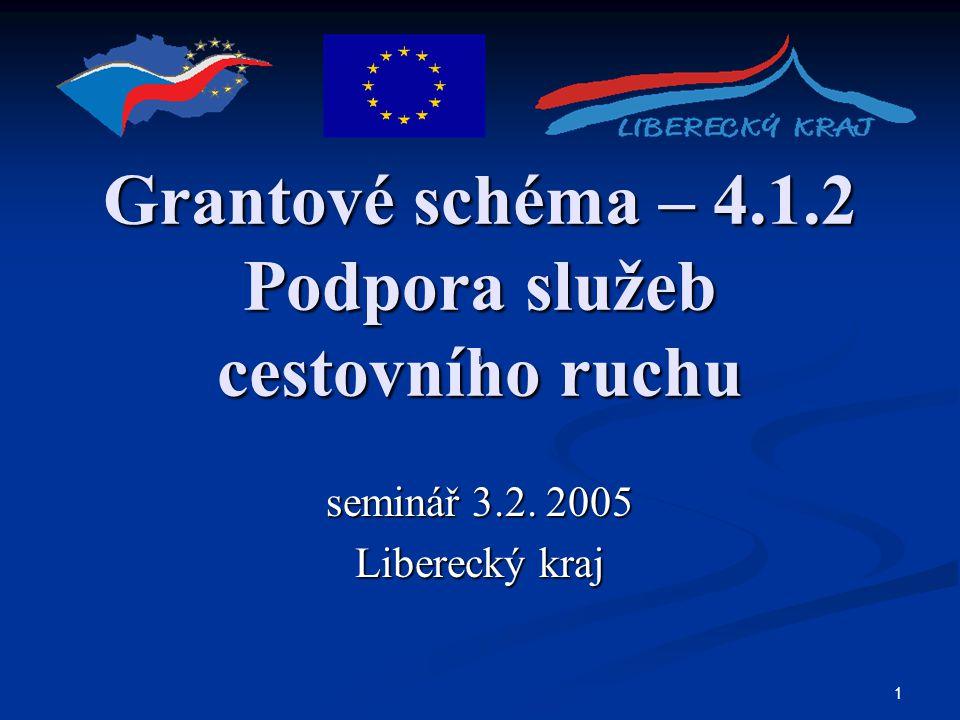 1 Grantové schéma – 4.1.2 Podpora služeb cestovního ruchu seminář 3.2. 2005 Liberecký kraj