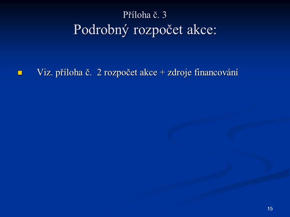 15 Příloha č. 3 Podrobný rozpočet akce: Viz. příloha č.