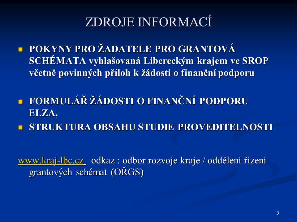 2 ZDROJE INFORMACÍ POKYNY PRO ŽADATELE PRO GRANTOVÁ SCHÉMATA vyhlašovaná Libereckým krajem ve SROP včetně povinných příloh k žádosti o finanční podporu POKYNY PRO ŽADATELE PRO GRANTOVÁ SCHÉMATA vyhlašovaná Libereckým krajem ve SROP včetně povinných příloh k žádosti o finanční podporu FORMULÁŘ ŽÁDOSTI O FINANČNÍ PODPORU ELZA, FORMULÁŘ ŽÁDOSTI O FINANČNÍ PODPORU ELZA, STRUKTURA OBSAHU STUDIE PROVEDITELNOSTI STRUKTURA OBSAHU STUDIE PROVEDITELNOSTI www.kraj-lbc.czwww.kraj-lbc.cz odkaz : odbor rozvoje kraje / oddělení řízení grantových schémat (OŘGS) www.kraj-lbc.cz
