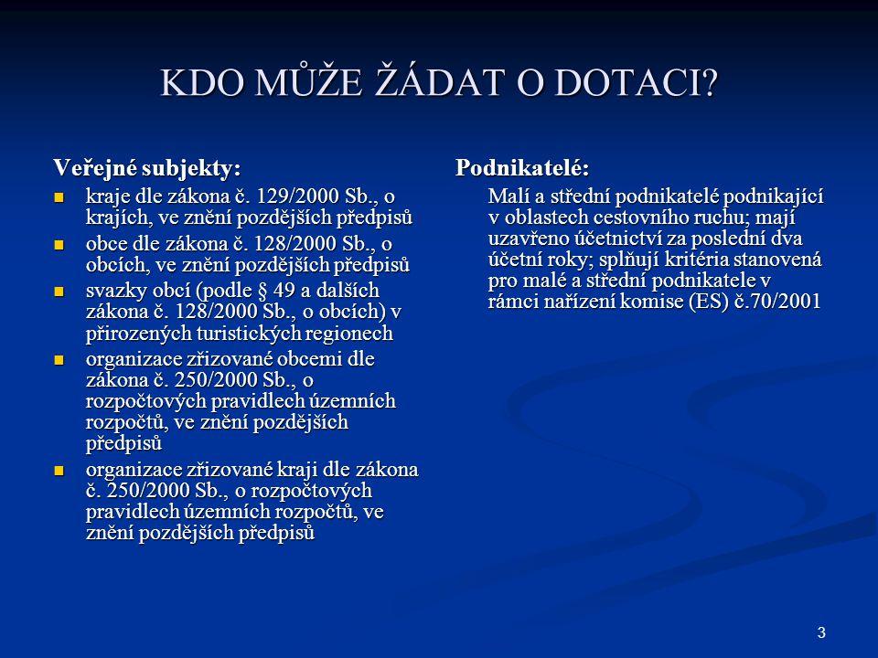 3 KDO MŮŽE ŽÁDAT O DOTACI. Veřejné subjekty: kraje dle zákona č.