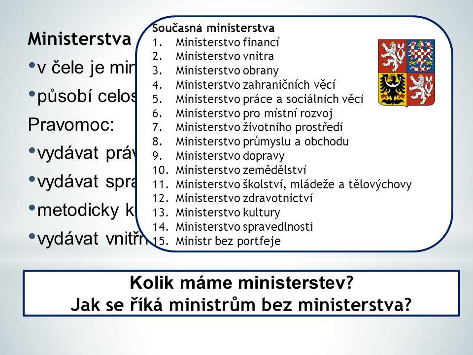 Ministerstva v čele je ministr odpovědný vládě působí celostátně Pravomoc: vydávat právní předpisy (vyhlášky) vydávat správní předpisy metodicky koord