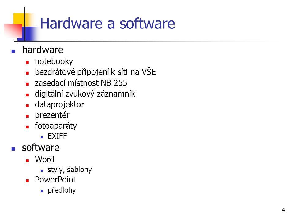 4 Hardware a software hardware notebooky bezdrátové připojení k síti na VŠE zasedací místnost NB 255 digitální zvukový záznamník dataprojektor prezentér fotoaparáty EXIFF software Word styly, šablony PowerPoint předlohy