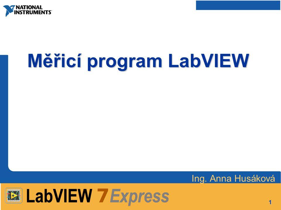1 Měřicí program LabVIEW Ing. Anna Husáková
