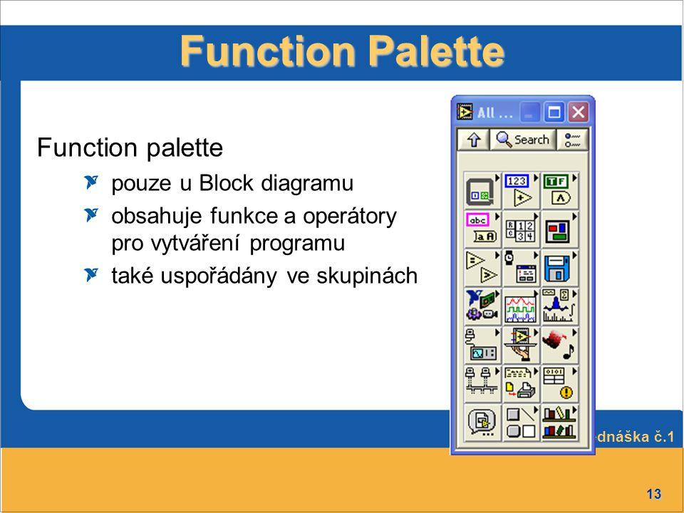 13 Function Palette Function palette pouze u Block diagramu obsahuje funkce a operátory pro vytváření programu také uspořádány ve skupinách Přednáška