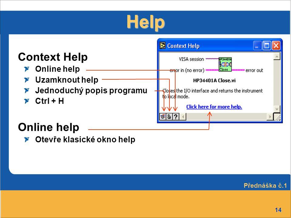 14 Help Context Help Online help Uzamknout help Jednoduchý popis programu Ctrl + H Online help Otevře klasické okno help Přednáška č.1
