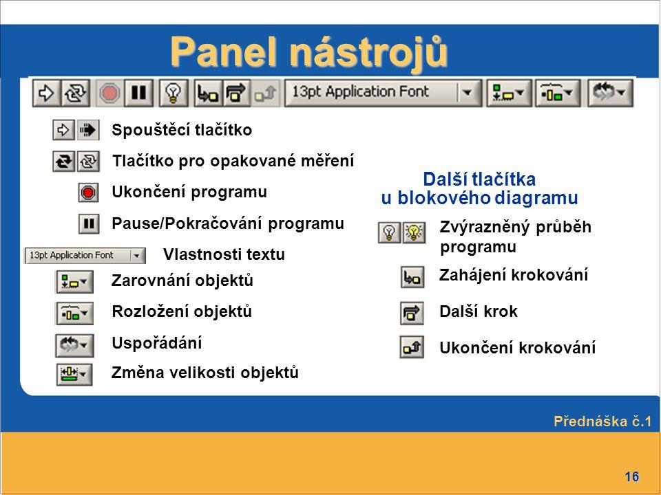 16 Další tlačítka u blokového diagramu Panel nástrojů Spouštěcí tlačítko Zvýrazněný průběh programu Přednáška č.1 Tlačítko pro opakované měření Ukonče