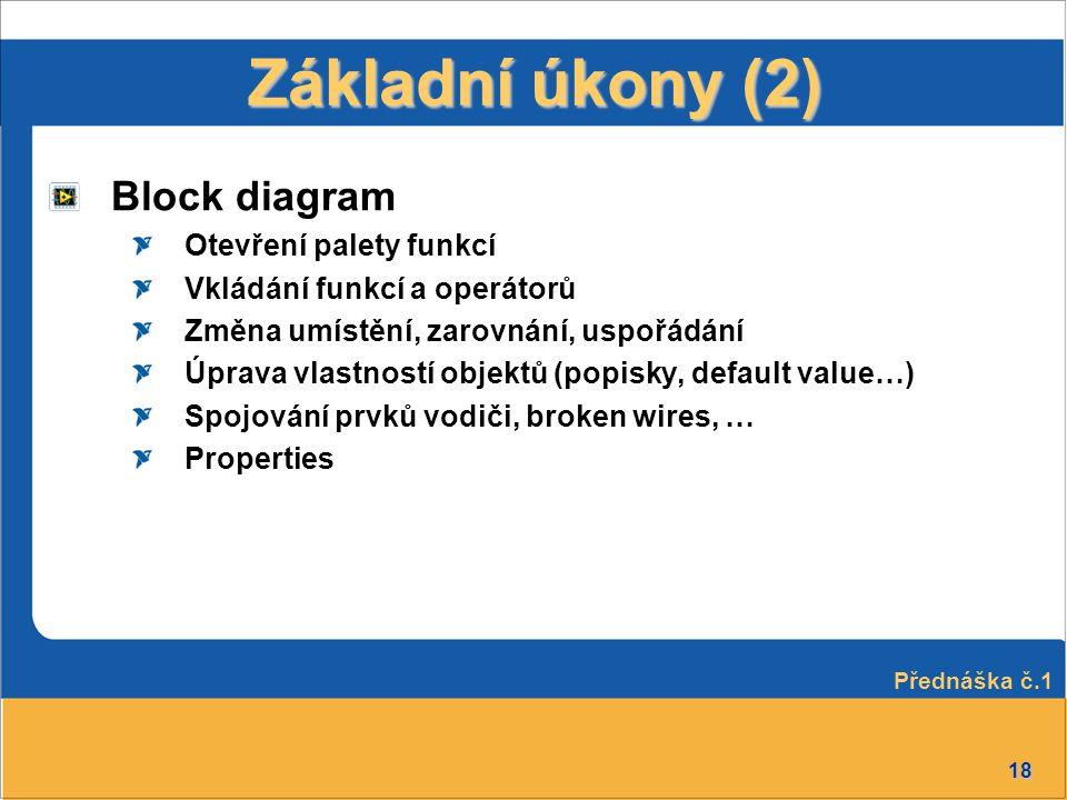 18 Block diagram Otevření palety funkcí Vkládání funkcí a operátorů Změna umístění, zarovnání, uspořádání Úprava vlastností objektů (popisky, default