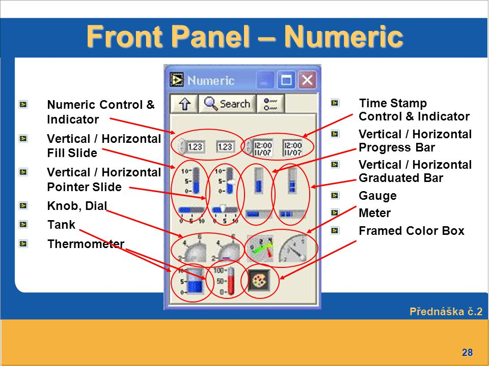 28 Front Panel – Numeric Numeric Control & Indicator Vertical / Horizontal Fill Slide Vertical / Horizontal Pointer Slide Knob, Dial Tank Thermometer Time Stamp Control & Indicator Vertical / Horizontal Progress Bar Vertical / Horizontal Graduated Bar Gauge Meter Framed Color Box Přednáška č.2