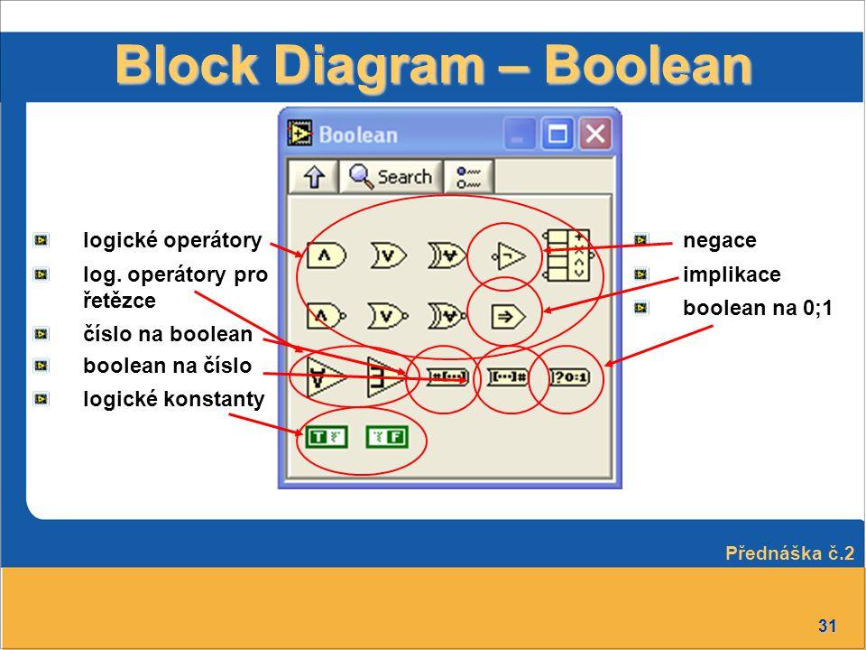31 Block Diagram – Boolean logické operátory log. operátory pro řetězce číslo na boolean boolean na číslo logické konstanty negace implikace boolean n