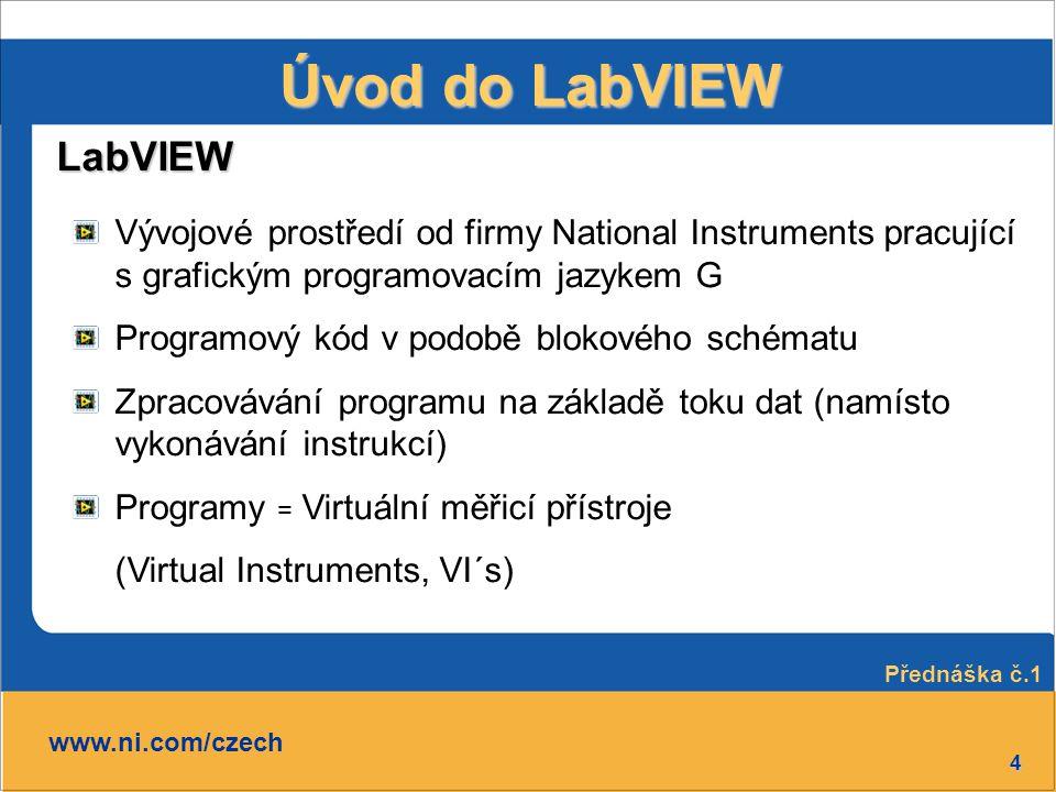 4 Úvod do LabVIEW LabVIEW www.ni.com/czech Vývojové prostředí od firmy National Instruments pracující s grafickým programovacím jazykem G Programový k