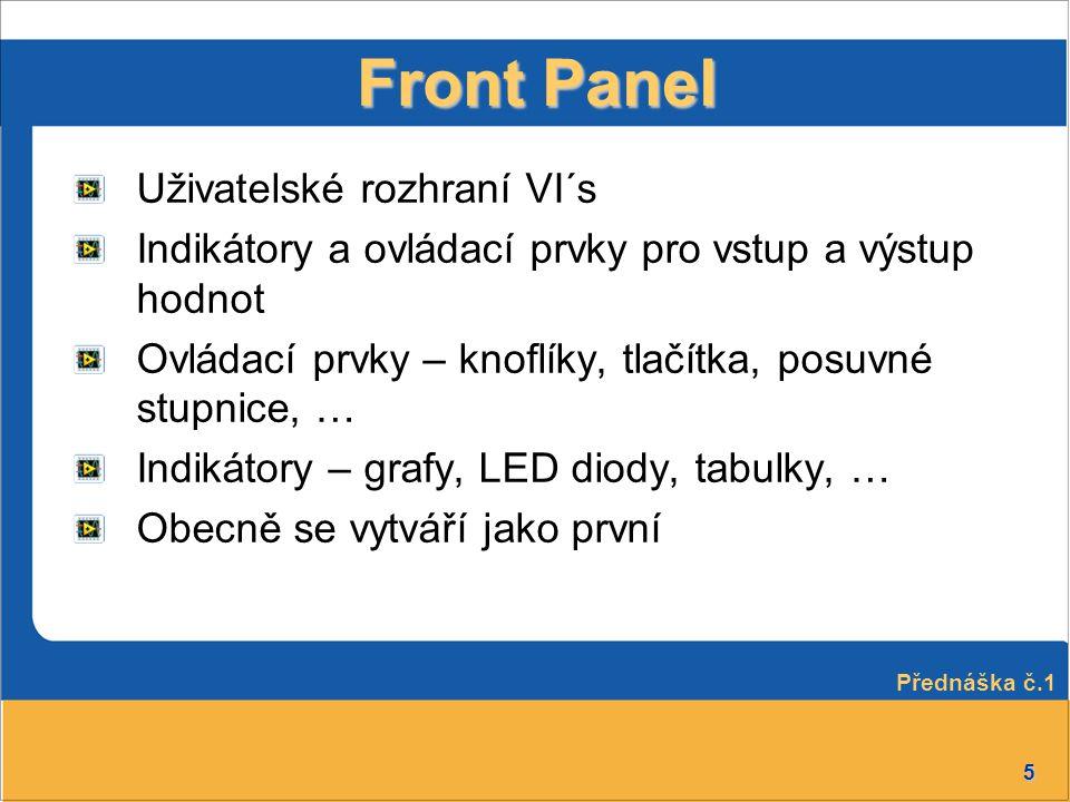 5 Front Panel Uživatelské rozhraní VI´s Indikátory a ovládací prvky pro vstup a výstup hodnot Ovládací prvky – knoflíky, tlačítka, posuvné stupnice, …
